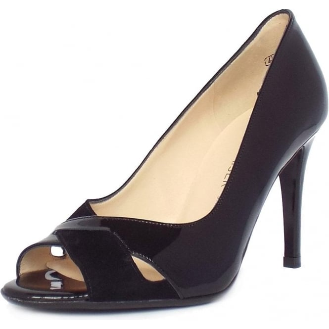 Alda Black Mix Patent and Suede Peep Toe Stiletto Pumps