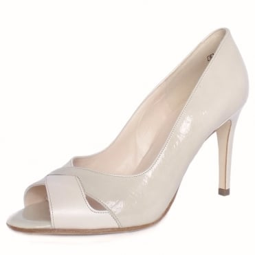 Alda Lana Patent and Capri Leather Mix Peep Toe Stiletto Pumps