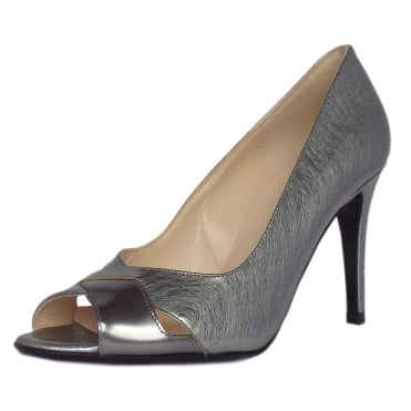 Alda Steel Graffiti & Silver Iron Mix Peep Toe Stiletto Pumps