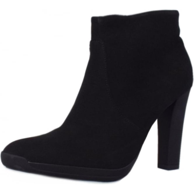 Anah Ladies Heeled Ankle Boot in Black Moritz