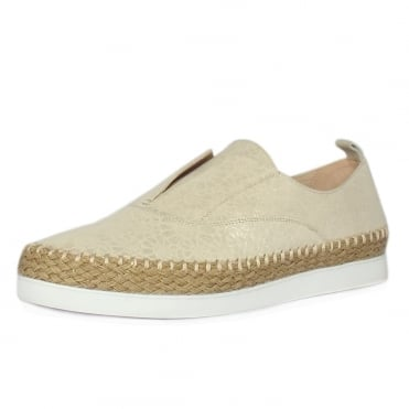 Anamarie White Gold Suede Trendy Espadrilles