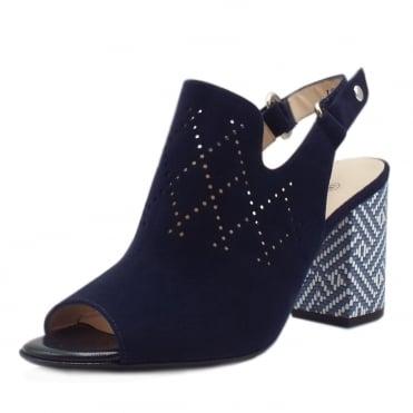 Andira Block Heel Sling-back Sandals in Notte Suede
