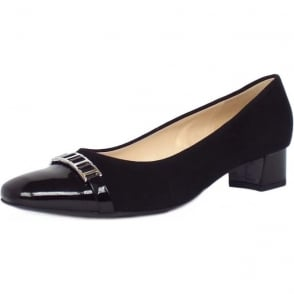 Arla Black Patent and Suede Low Heel Smart Pumps