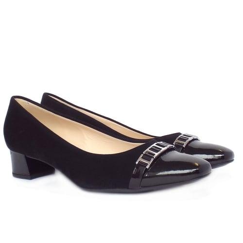 9907f0fea05d ... Arla Black Patent and Suede Low Heel Smart Pumps ...