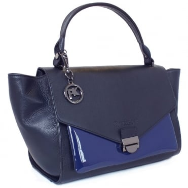 Astra Navy Leather and Opal Blue Patent Handbag