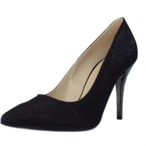 Atena Stiletto Court Shoe in Black Shimmer