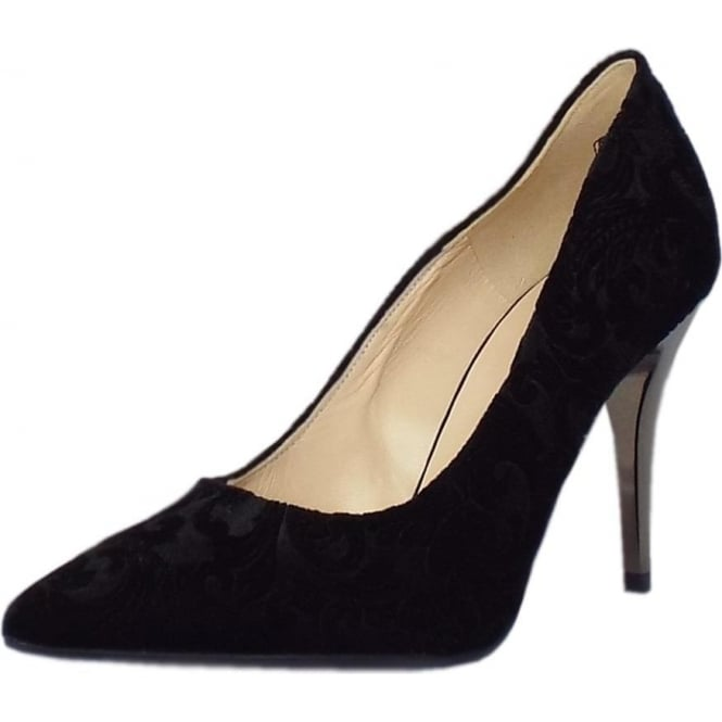 Atena Stiletto Court Shoe in Black Velvet