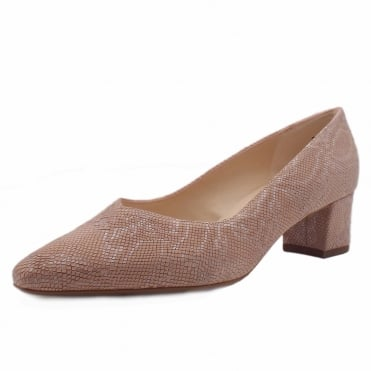 Bayli Plus Fit Rose Tiles Leather Low Heel Pumps
