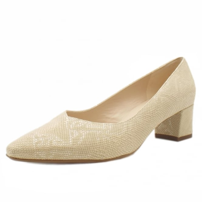 Bayli Plus Fit Sand Tiles Leather Low Heel Pumps