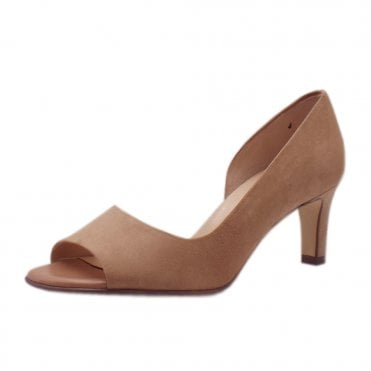 Beate Biscotti Suede Stylish Open Toe Pumps