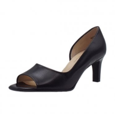 Beate Black Leather Stylish Open Toe Pumps