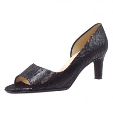 Beate Black Sarto Leather Stylish Open Toe Pumps