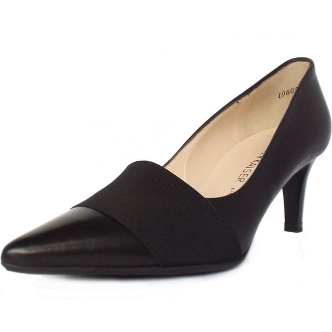 Beka Black Chevro Leather Elasticated Top Mid Heel Pumps