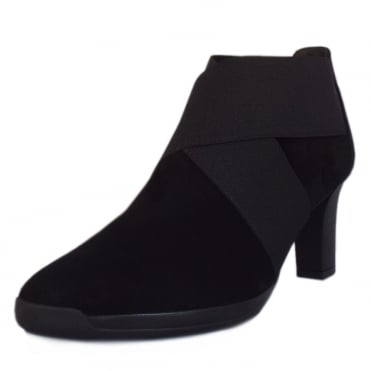 Bell Ladies Heeled Ankle Boot in Black Suede