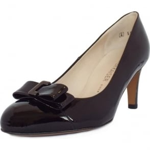 Bergena Black Patent Round Toe Pumps With Bow
