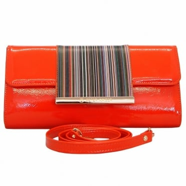 Berta mandarin patent clutch with multicoloured trim