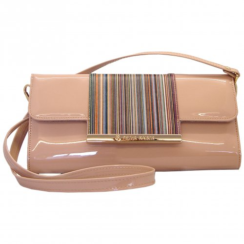 Berta sapphire patent clutch with multicoloured trim (With