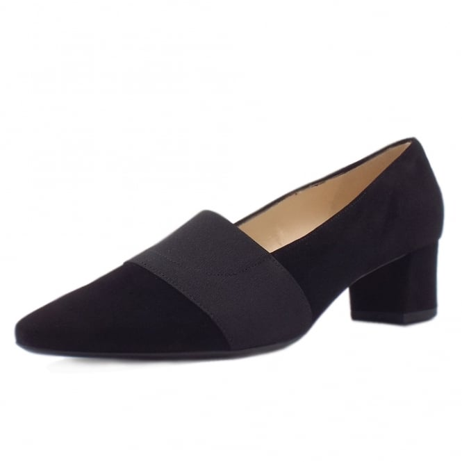 Betzi Black Suede Mid Heel Pumps