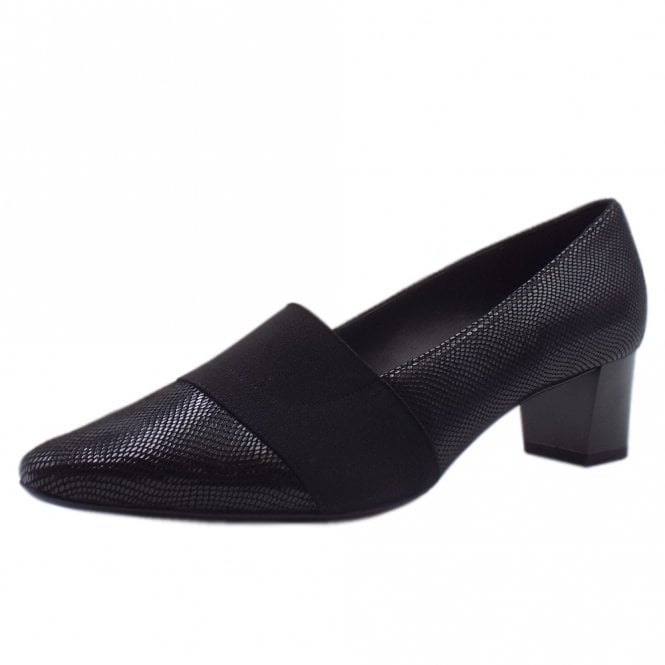 Betzi Mid Heel Wide Fit Court Shoes in Black Sarto