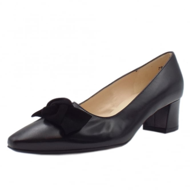 Binella Black Leather Bow Trim Mid Heel Pumps
