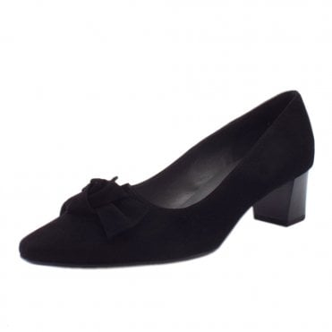 Binella Black Suede Plus Fit Bow Trim Mid Heel Pumps