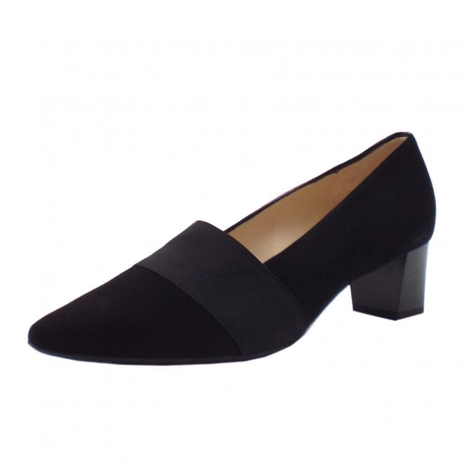 Birja Mid Heel Plus Fit Court Shoes in Black Suede