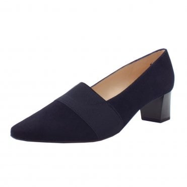 Birja Mid Heel Plus Fit Court Shoes in Navy Suede