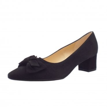 Blia Wide Fit Court Shoes in Black Suede