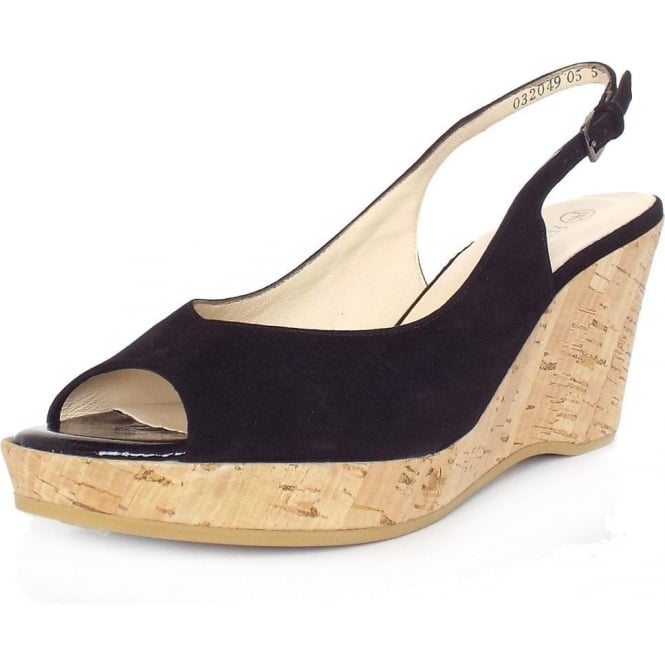 Bobby Black Suede Slingback Wedge Sandals