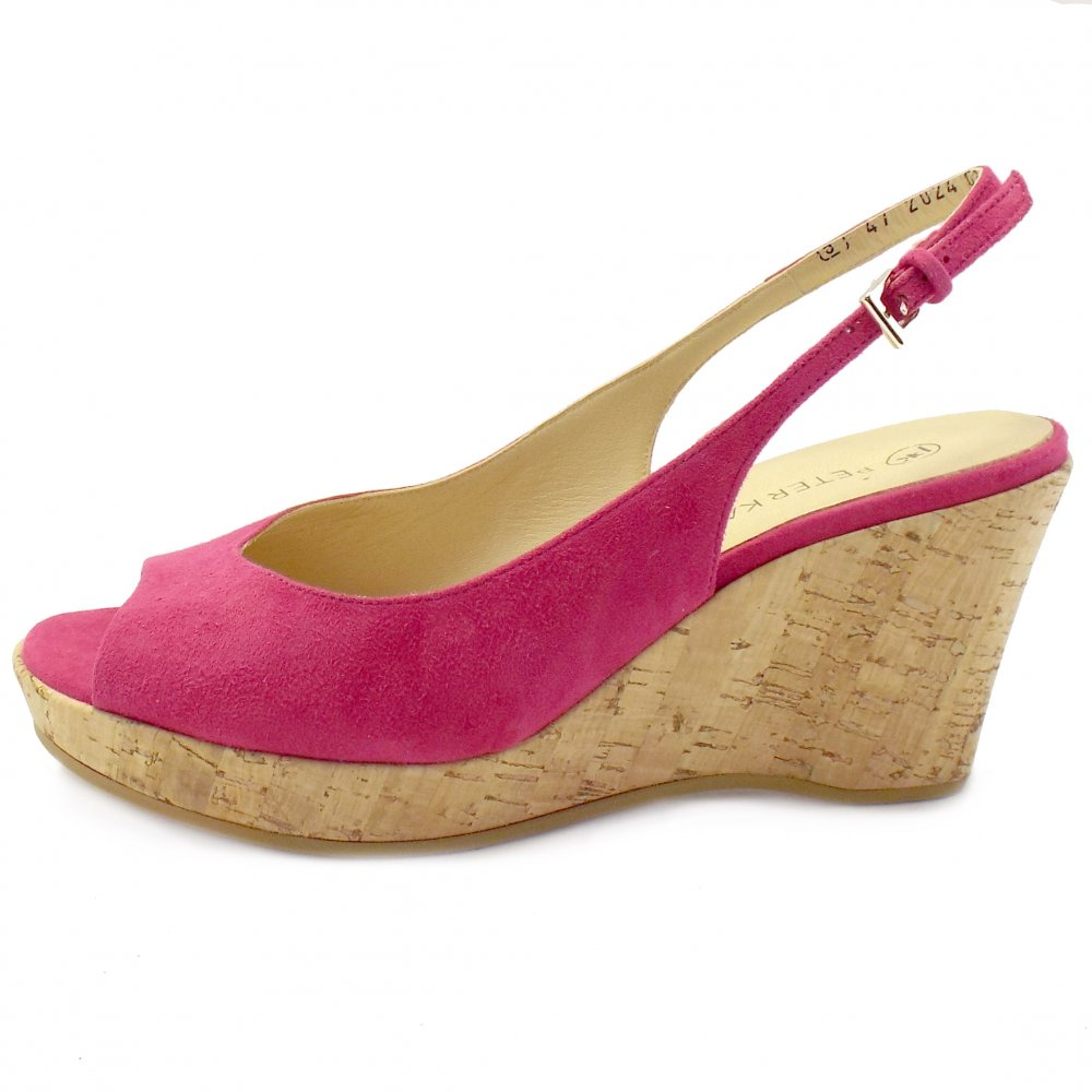 kaiser bobby pink suede summer wedge