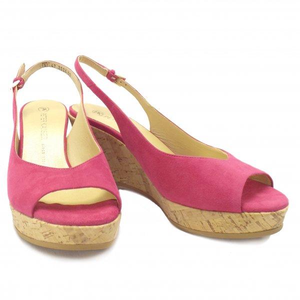 2229df7080 Peter Kaiser Bobby | Pink Suede Ladies Summer Wedge Slingback Shoes