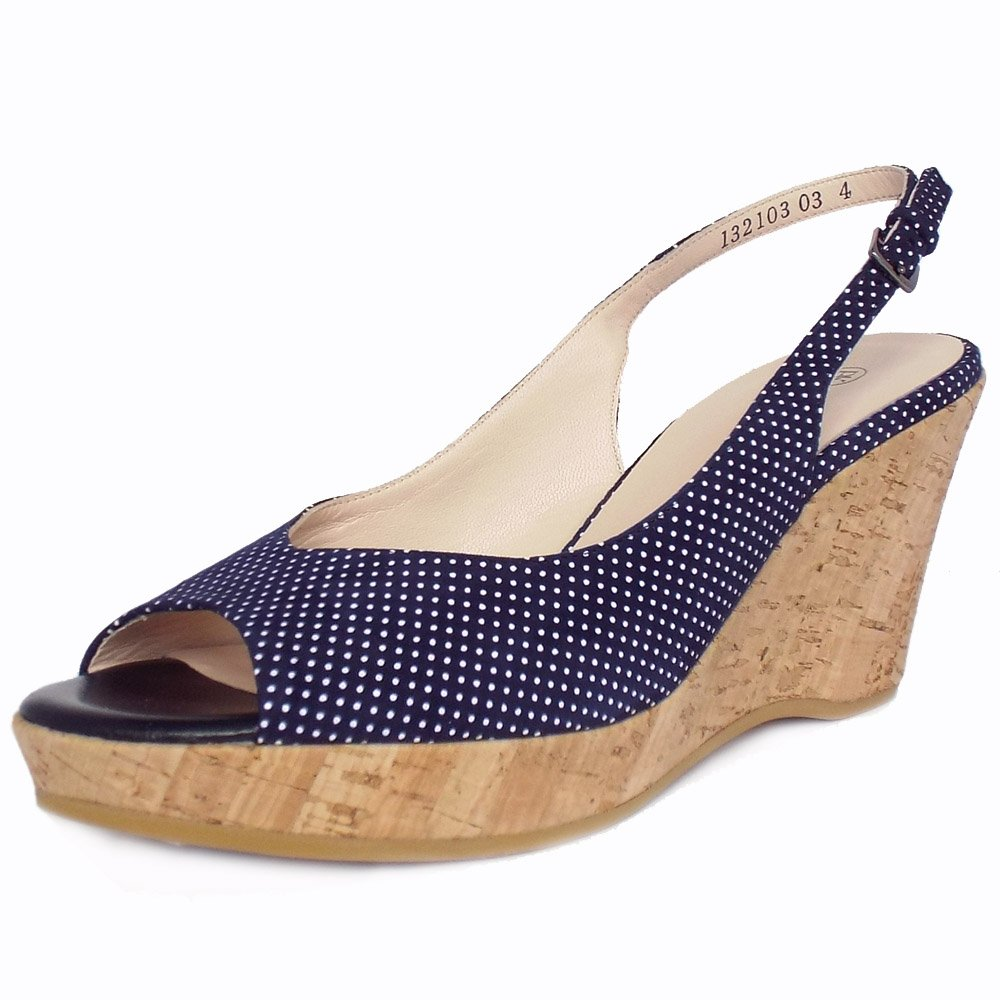 bobby polka dot navy suede slingback wedge sandals