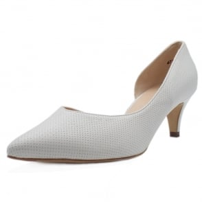 Caete White Pin Leather Pointed Toe Pumps