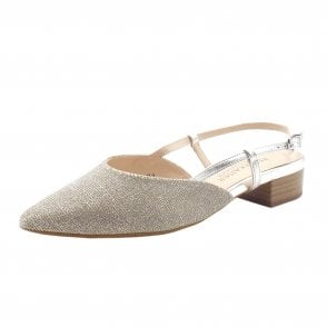 Calida-A Dressy Low Heel Sandals in Sand Shimmer