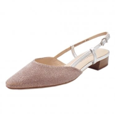 Calida Powder Shimmer Sling Back Sandals With Low Heel