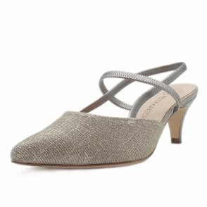 Calina Sand Shimmer Sandals With Low Heel