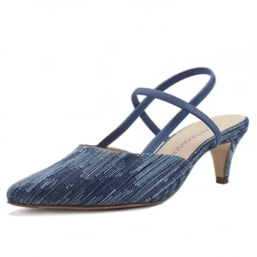 Calina Women's Dressy Low Heel Sandals in Jeans
