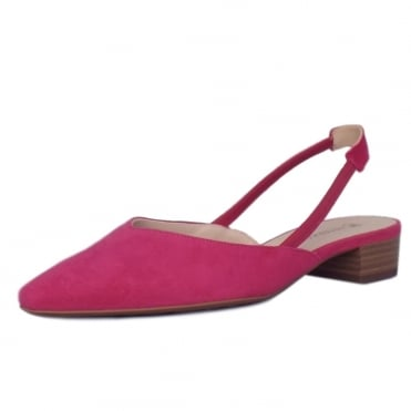 Carsta Berry Suede Evening Sandals With Low Heel