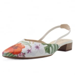Carsta Jeans Multi Tropic Sling Back Sandals With Low Heel