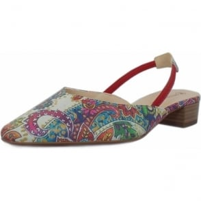 Carsta Multi Paisli Evening Sandals With Low Heel