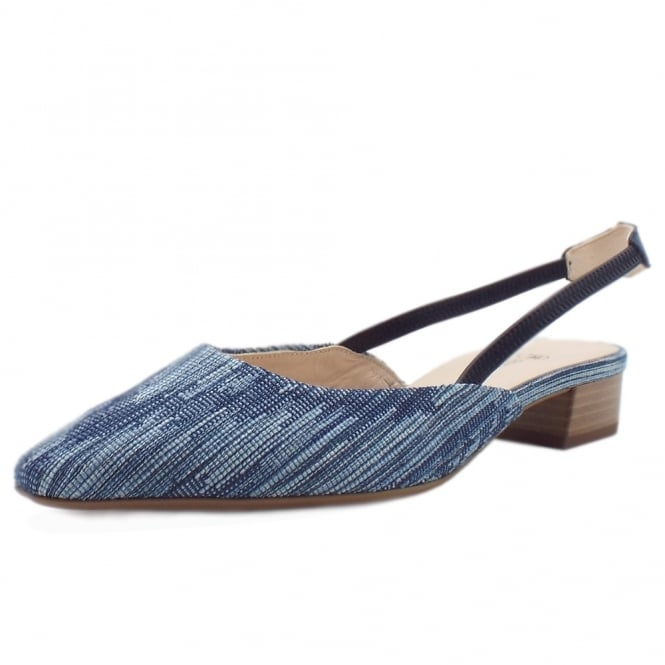 Castra Jeans Sling Back Sandals With Low Heel