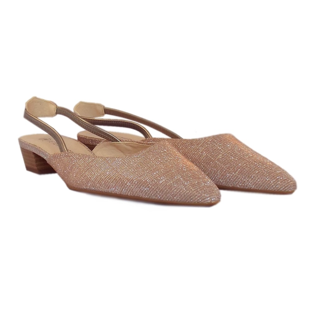 96d7a84c0932c ... Castra Women s Dressy Low Heel Sandals in Powder Shimmer ...