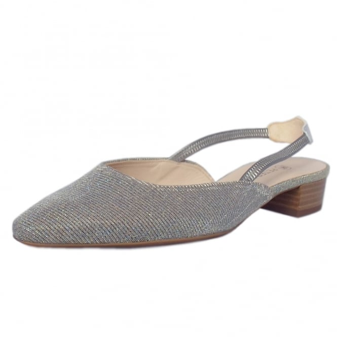 Castra Women's Dressy Low Heel Sandals in Topas Shimmer