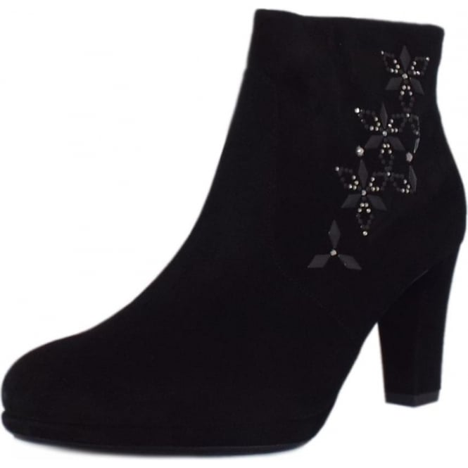 Cetin Ladies Heeled Ankle Boot in Black Suede