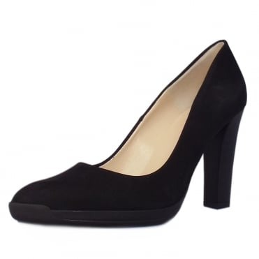 Charlien Trendy Rubber Heel Court Shoes in Black Moritz
