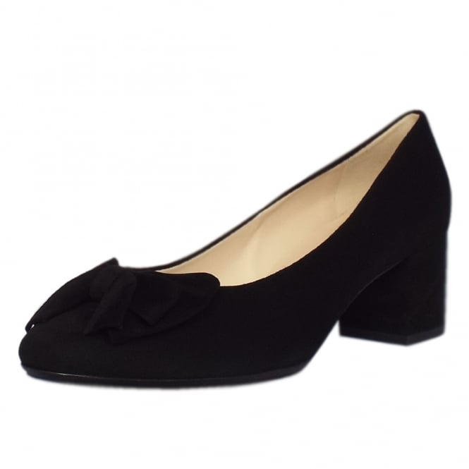 Christiane Plus Fit Black Suede Low Heel Pumps with Bow