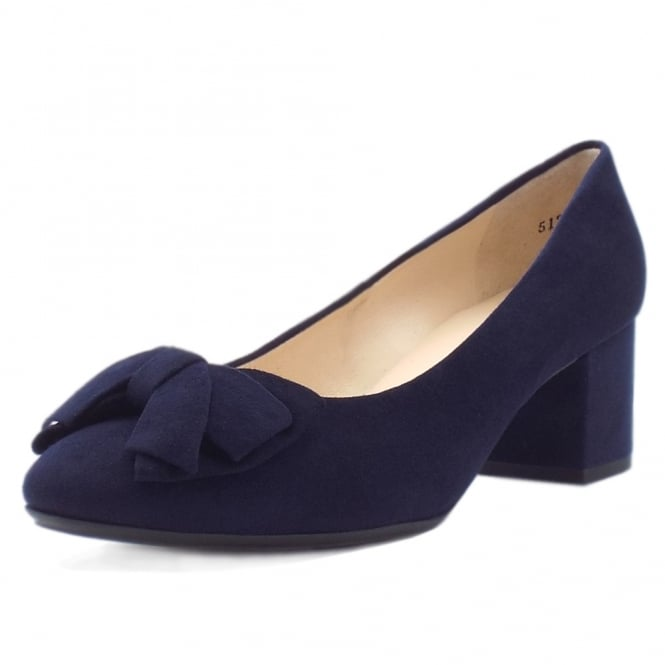 Christiane Plus Fit Notte Suede Low Heel Pumps with Bow