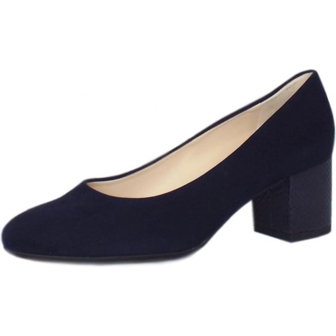 Christin Court Shoes With Block Heel Detail in Notte Suede