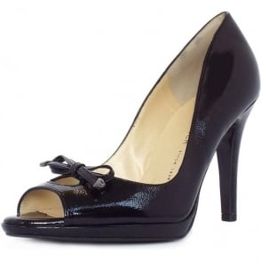Cinua black crakle peep toe stilettos