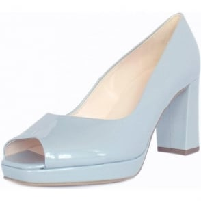 Cooky Ice Blue Pearlised Patent Peep Toe Block Heel Pumps